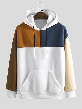 Mens Loose New Fashion Casual Color Matching Stitching Sweat Tops from Men's Clothing on Banggood.com