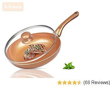 FRUITEAM 9.5-inch Non-stick Fry Pan with Lid, Round Omelet Pans Skillet Heavy-Duty Frying Pan, Compatible for Induction, Gas, Electric & Stovetops, Perfect for 2-3 Person Meal