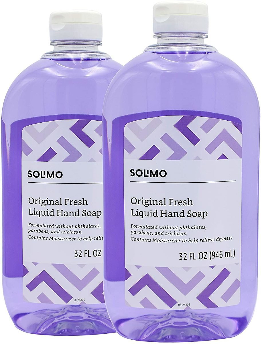 Pack of 2, Amazon Brand - Solimo Original Fresh Liquid Hand Soap, 32 Fluid Ounce