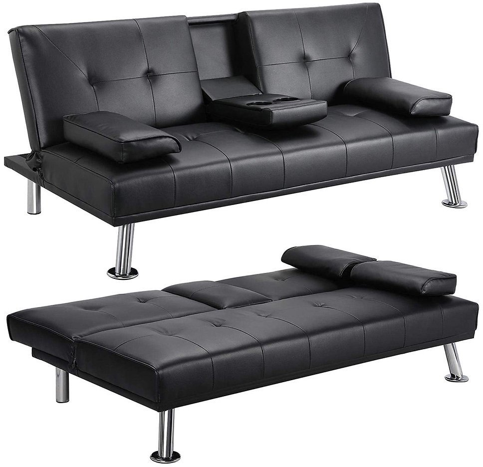 Futon-Sofa-Bed-Modern-PU-Leather-Sleeper-Bed-Armrest-Black-Convertible-Recliner-Couch-w-Metal-Legs-2-