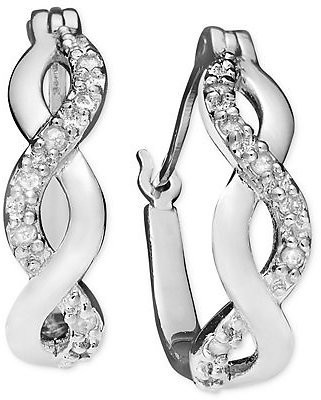 Macy's Diamond Infinity Hoop Extra Small Earrings in 18k Gold and Sterling Silver (1/10 Ct. T.w.) & Reviews