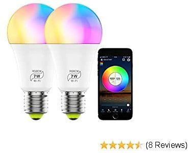 Smart WiFi Light Bulb, Dimmable RGB Color Changing LED Light Bulb 2700K-6500K 60 Watt Equivalent Sync to Music Works with Alexa, Echo, Google Home for Home Decor, Party(2 Pack)