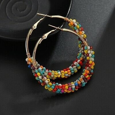 Bohemian Multicolor Rice Beads Gold Hoop Earrings For Women Jewelry A Pair/set