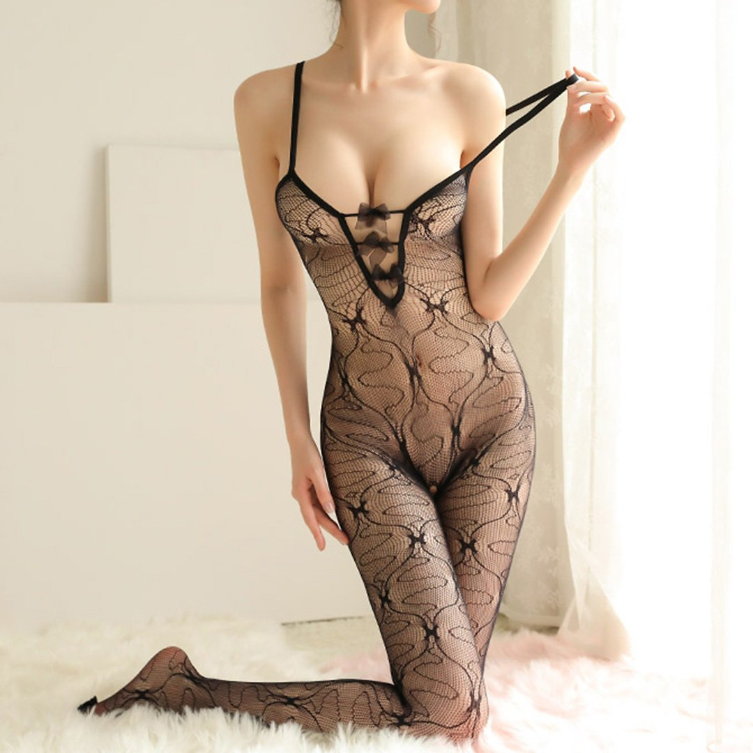 Sexy Lingerie Mesh Crotchless See Through Bowknot Cut Out Bodystockings