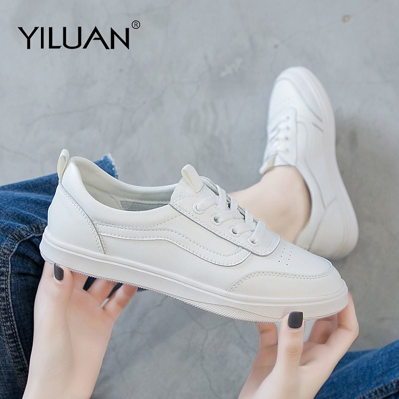 US $28.87 49% OFF|Yiluan Women Casual Shoes White Genuine Leather Shoes Lace Up Female Shoes Fashion Students Sneakers Women|Women's Flats| - AliExpress