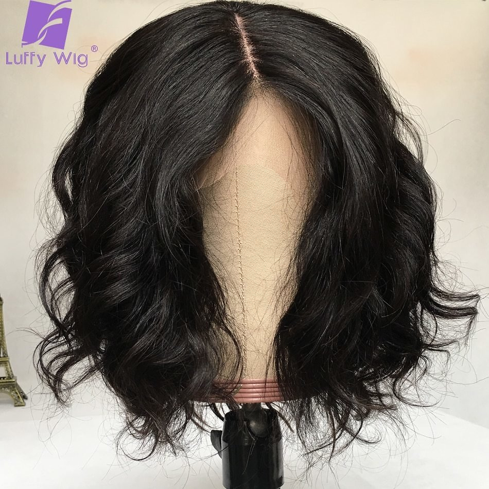 13x6 Short Lace Front Human Hair Wigs Brazilian Remy Hair Bob 2x5 Scalp Top Wig For Women Natural Wave Black Color