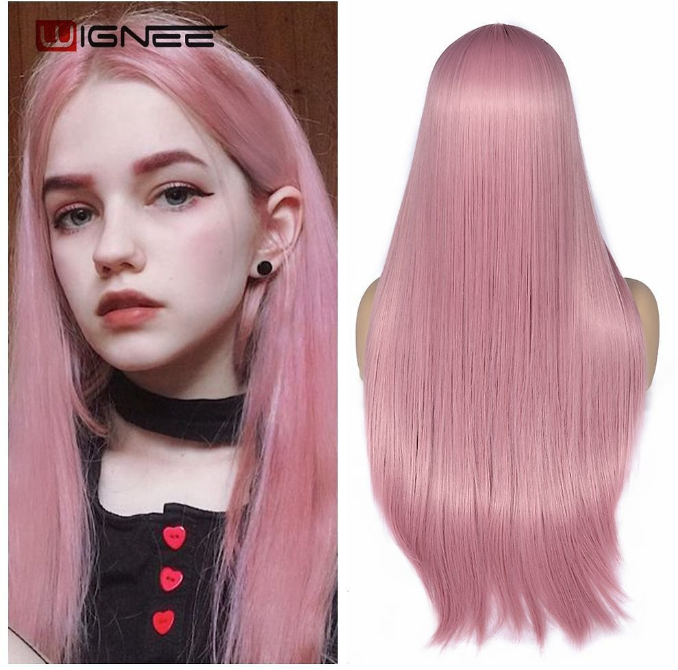 Pink Long Straight Hair Synthetic Wig For Women Hair Bundle With Closure Daily/Party Game Of Pre-Colored Bundle Pack Wig