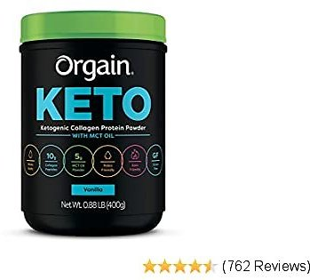 Orgain Keto Collagen Protein Powder with MCT Oil, Vanilla - Paleo Friendly, Grass Fed Hydrolyzed Collagen Peptides Type I and III, Dairy Free, Lactose Free, Gluten Free, Soy Free, 0.88 Pound