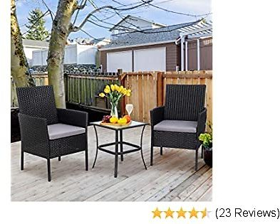 Shintenchi 3 Pieces Outdoor Patio Furniture Set, Portable Rattan Chair Wicker Furniture for Backyard Porch Lawn Garden Balcony with Cushions,Conversation Sets with Coffee Table