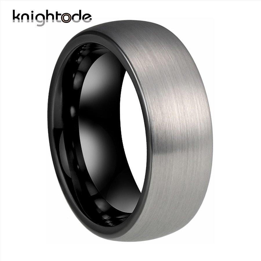 US $12.73 15% OFF|6/8mm Black Tungsten Carbide Male Rings For Cool Men Women Wedding Bands Dome Silvery Brushed Finish Comfort Fit|Wedding Bands| - AliExpress