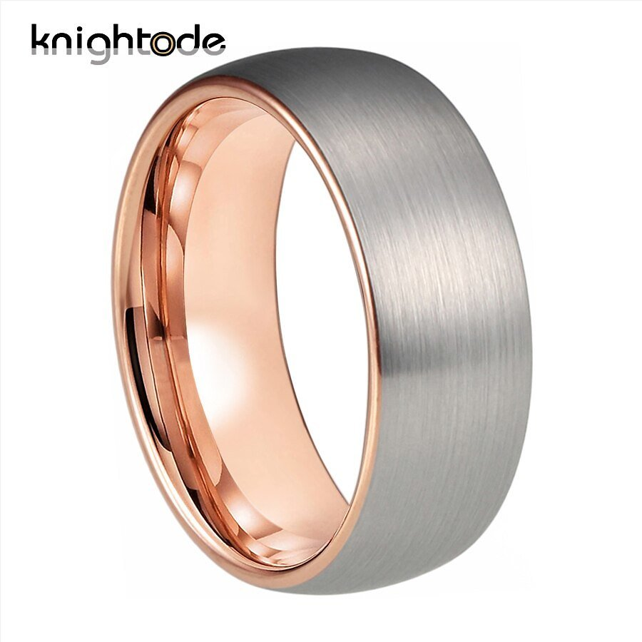 US $11.98 20% OFF 6mm 8mm Rose Gold Tungsten Carbide Engagement Ring Lover Gift For Men Women Wedding Band Dome Silvery Brushed Comfort Fit Wedding Bands  - AliExpress