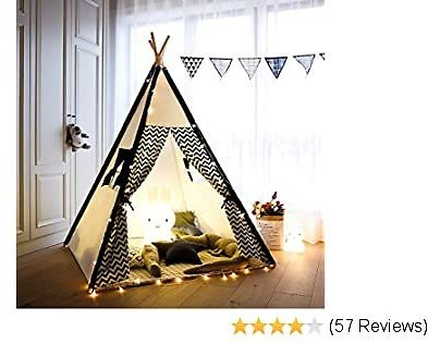 TreeBud Kids Teepee Play Tent Cotton Canvas Child Indian Teepee Tent with White and Black Stripe Playhouse for Kids Indoors Outdoors with Carry Bag