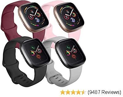 Tobfit 4 Pack Compatible with Apple Watch Band 38mm 42mm 40mm 44mm, Soft Silicone Replacement Band Compatible with IWatch Series 5 4 3 2 1 (Black/Gray/Wine Red/Pink, 38mm/40mm M/L)