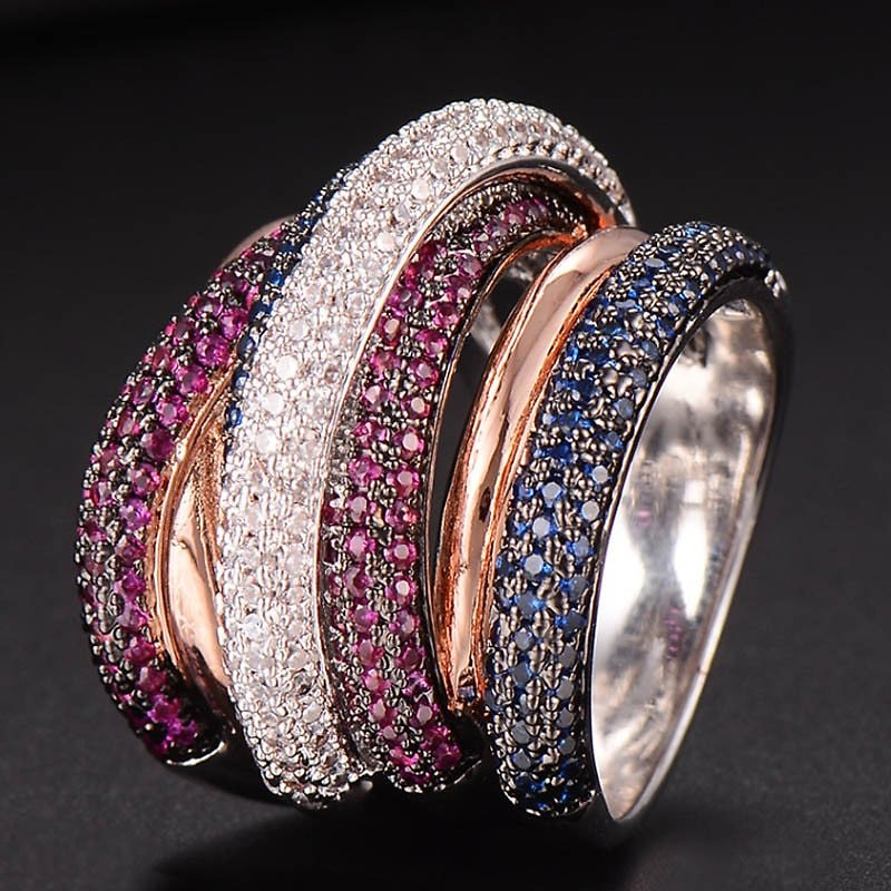 Zlxgirl Jewelry Luxury Brand Colorful Pave Zirconia Copper Wedding Ring Jewelry Women's and Men's Best Couple Anel Rings