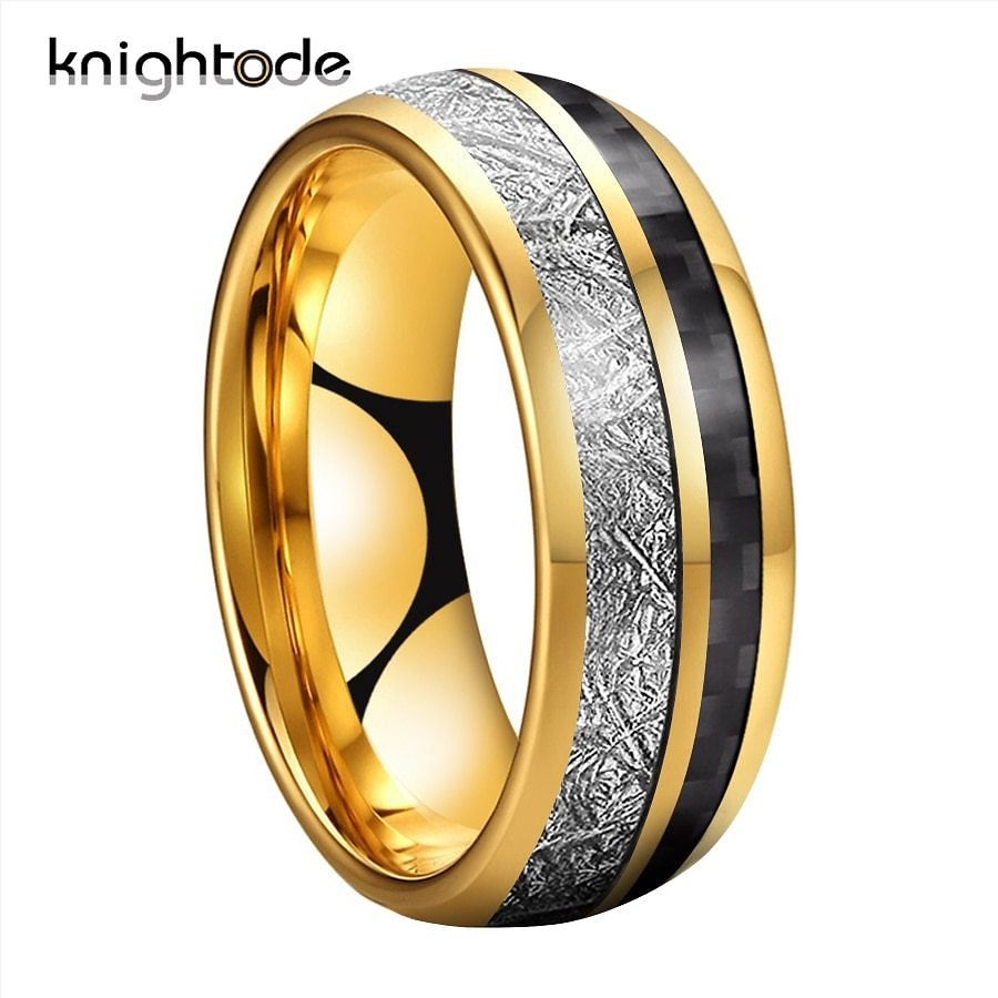 8mm Men's Gold Tungsten Carbide Wedding Band Meteorite Carbon Fiber Inlay For Female Valentine Rings Engagement Ring