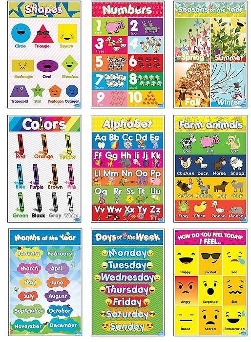 9-Piece Kids Educational Poster Set
