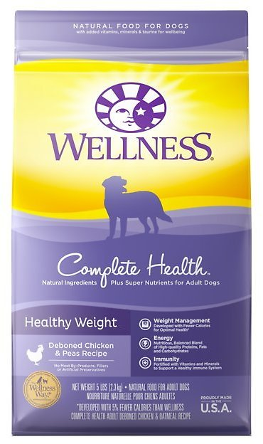 Wellness Complete Health Healthy Weight Deboned Chicken & Peas Recipe Dry Dog Food, 26-lb Bag - Chewy.com