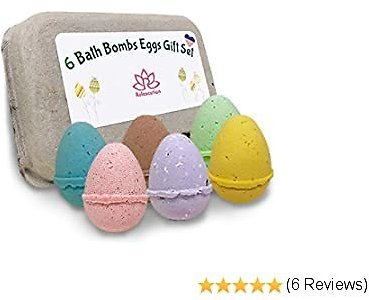 Eggs Kids Bath Bomb Gift Set - Easter 6 Pack Bath Bombs for Kids - All Natural Ingredients with Essential Oil Safe for Sensitive Skin - XL Bath Bombs 5oz Bath Bombs