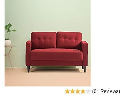 Top Branded Zinus Mikhail Mid-Century Loveseat Sofa / Ruby Red Sofa Couch / Button Tufted Cushions / Easy, Tool-Free Assembly