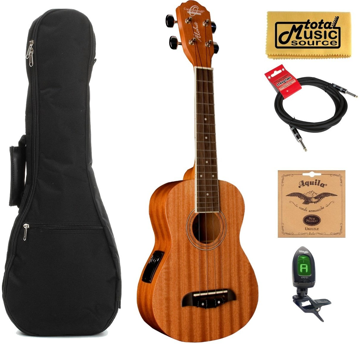 Oscar Schmidt OU2TE Tenor Electric Ukulele, All Mahogany W/Padded Gigbag,Tuner,Strings,Cable & PC, OU2TE CABLECOMP