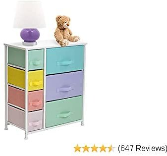 Sorbus Nightstand with 7 Drawers - Bedside Furniture & Night Stand End Table Dresser for Home, Bedroom Accessories, Office, College Dorm, Steel Frame, Wood Top (7-Drawer, Pastel/White)