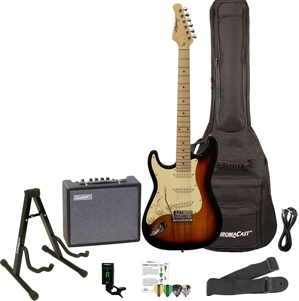 Sawtooth Black ES Series Electric Guitar with Black Pickguard - Includes: Gig Bag, Amp, Picks, Tuner, Strap, Stand, Cable, and G