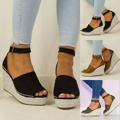 Women Flatform Dull Polish Sewing Peep Toe Lady Wedges Hasp Sandals Shoes Size