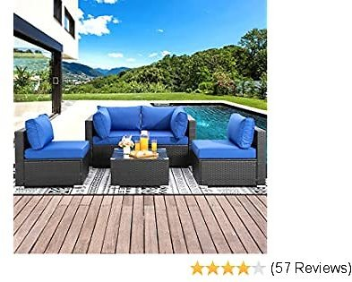 Shintenchi Outdoor Patio Furniture 5 Pieces Sets, All Weather PE Wicker Rattan Patio Conversation Sofa Set Tea Table&Washable Couch Cushions for Backyard Porch Lawn Garden Balcony (Dark Blue)