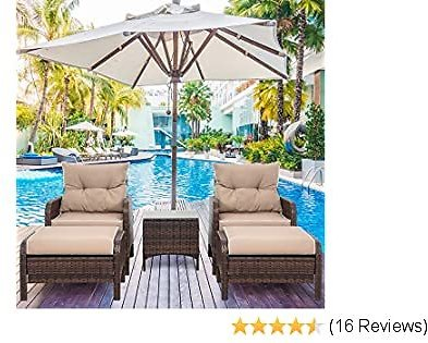 Shintenchi Outdoor Furniture 5 Pieces Set,All Weather PE Wicker Rattan Patio Conversation Set with Cushioned Patio Chairs, Ottoman Set,Glass Side Table for Lawn Pool Balcony
