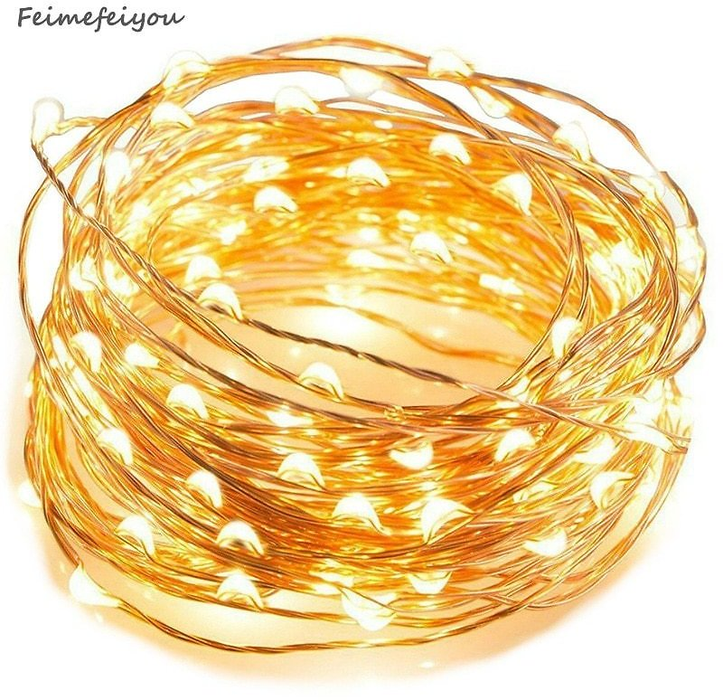 Feimefeiyou 50 100 LED Outdoor Light String Fairy Garland Battery Power Copper Wire Lights For Party Christmas Wedding 5 Colors
