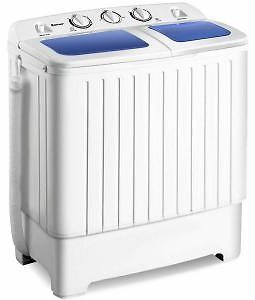 Costway 14 In. 1.6 Cu. Ft. Portable Top Load Washing Machine Mini Compact Washer Dryer in White