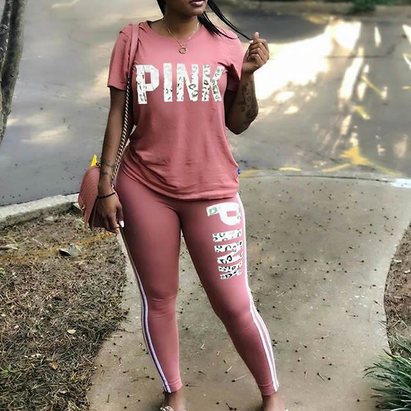 Women Two Piece Set Summer Pink Letter Print Tracksuits Plus Size T-Shirt Top And Pants Set Suits Casual Bodcon 2 Piece Set