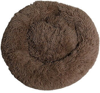 Round Donut Cat and Dog Cushion Bed Self Warming Round Pillow Cuddler Brown S
