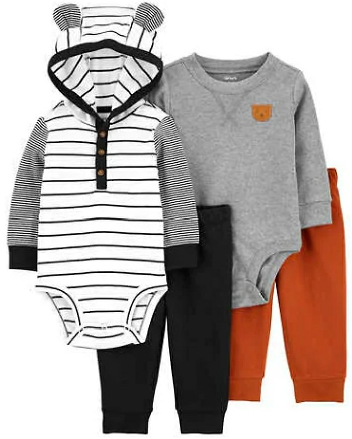 4-piece Carter's Kids' Layette Set, Black and White