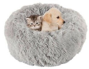 Round Donut Cat and Dog Cushion Bed Self Warming Round Pillow Cuddler Gray M
