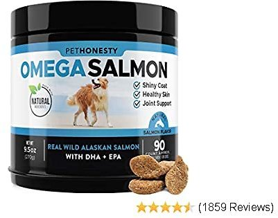 Salmon Oil for Dogs - Omega 3 Fish Oil For Dogs All-Natural Wild Alaskan Salmon Chews Omega 3 for Dogs for Healthy Skin & Coat, Cure Itchy Skin, Dog Allergies, Reduce Shedding - 90 Ct. Fish Oil