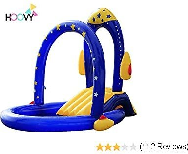Rocket Pool with Water Slide | Best Inflatable Playground with Slides for Infant & Children | Big Outdoor Toys for Summer Activity Swimming | Portable Backyard Pool for Kids & Toddlers