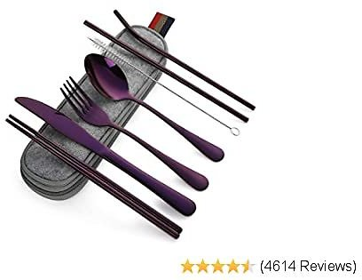 Devico Portable Utensils, Travel Camping Cutlery Set, 8-Piece Including Knife Fork Spoon Chopsticks Cleaning Brush Straws Portable Case, Stainless Steel Flatware Set (8-piece Purple)