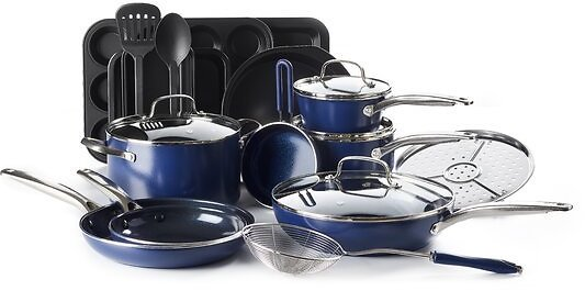 Blue Diamond 20 Piece Ceramic Non Stick Cookware Set