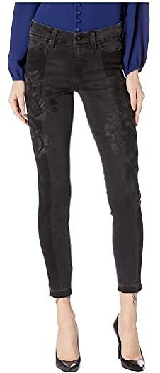 Kayden Ankle Release Hem w/ Etched Rose Embroidery in Carbon Shadow