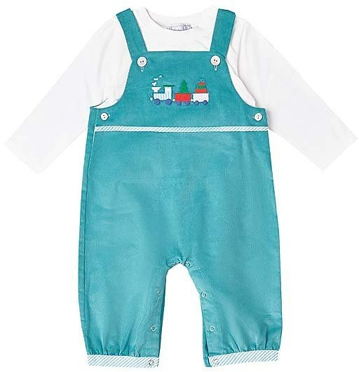 Turquoise & White Corduroy Holiday Train Overalls & Tee - Infant