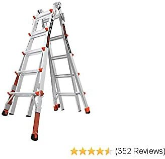 Little Giant Ladders, Revolution with Ratchet Levelers, M22, 6-18 Foot, Multi-Position Ladder, Aluminum, Type 1A, 300 Lbs Weight Rating (12022-801)