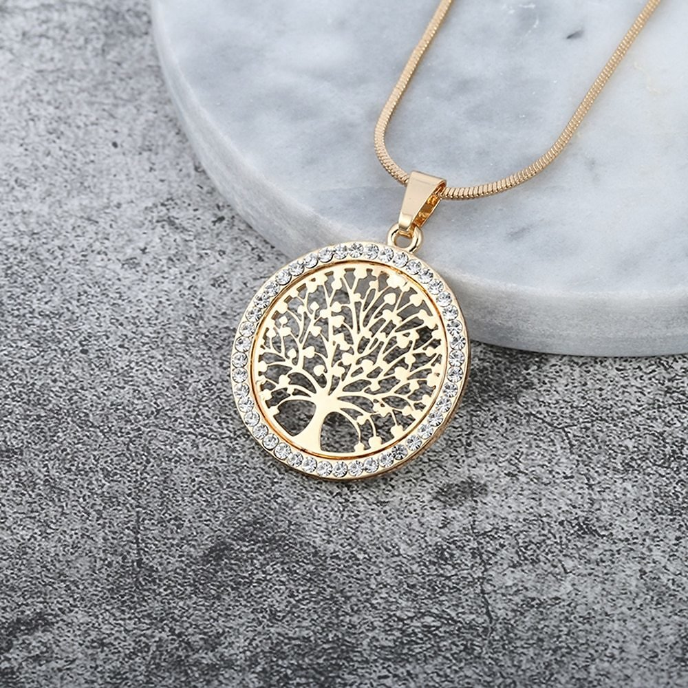 Hot Tree of Life Crystal Round Small Pendant Necklace Gold Silver Color Bijoux Collier Elegant Women Jewelry Gifts Dropshipping