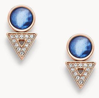 Geometric Rose Gold-Tone Stainless Steel Earrings