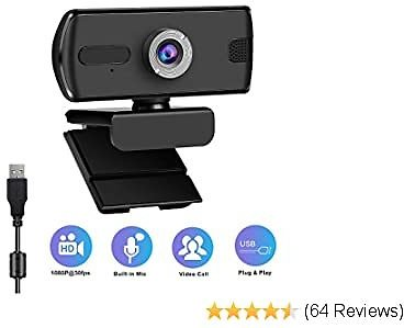 Webcam with Microphone-1080P USB Webcam,Web Cameras for Computers with 110-Degree Wide View Angle, for Laptop,Desktop,Video Calling Recording Conferencing