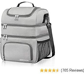 Insulated Lunch Bag, 18L Leakproof Reusable Large Capacity Bag with Adjustable Strap, Three Deck Lunch Box for Office Camping Hiking Outdoor Picnic Beach (Grey, Large)