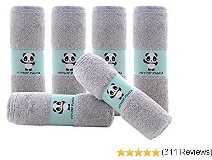 Hypoallergenic Bamboo Baby Wash Clothes - 2 Layer Ultra Soft Absorbent Bamboo Washcloths for Boy - Newborn Face Towel - Makeup Remove Washcloths for Sensitive Skin - Baby Shower Gift (Gray)