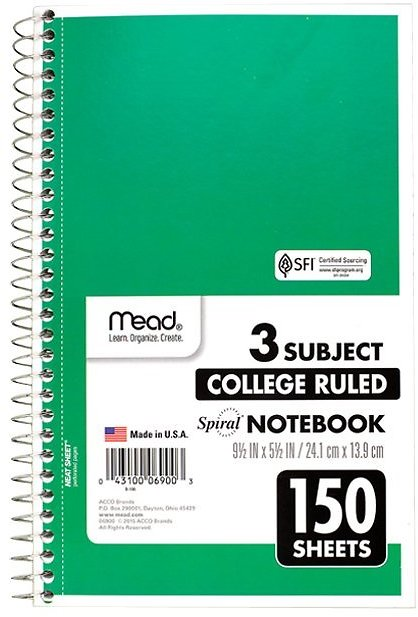 Green 150-Page Three-Subject Spiral Notebook