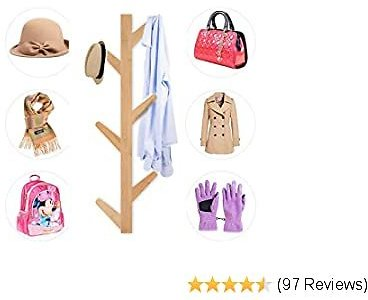 Coat Rack Wall Mounted Coat Hook Wall Supports Over 120 Lbs Goods Bamboo Modern Hat Rack for Bags Scarves Clothes Handbag Umbrella for Bedroom Bathroom Made in USA