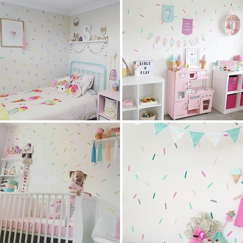 Sprinkles Decorative Stickers Baby Girl Room Wall Sticker For Kids Room Holiday Party Room Decoration Children Wall Stickers